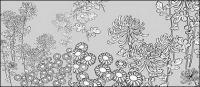 รูปวาดเส้นเวกเตอร์ของดอกไม้-27(Wild chrysanthemum)