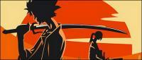 侍と日没のベクトル