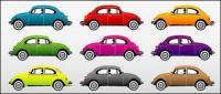 素材のカラフルな古典的な車をベクトルします。