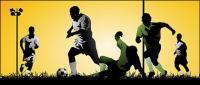 Jogando atletas de futebol vector material