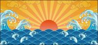 Le soleil, vagues, matériel de vecteur de Xiangyun