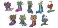 Vector ilustración estilo floral material-1