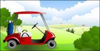 青い空と白い雲ベクトル ゴルフ コース中の材料