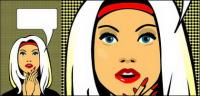 Dinamis gaya komik wanita vektor bahan