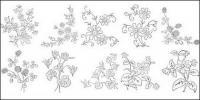 花型の線画ベクトル図-5