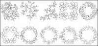 रेखा आरेखण वेक्टर चित्र-6 के प्रकार के फूल