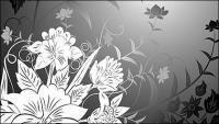 Материал векторного рисования линий цветы