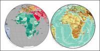 Mapa del vector del material exquisito mundo - mapa esférico de África