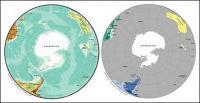Mapa del vector del material exquisito mundo - mapa esférico de la Antártida