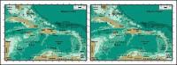 แผนผังของเวกเตอร์ของโลกสวยงามพร้อมวัสดุ - แผนที่ Antilles