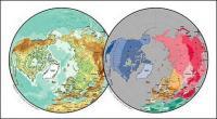 แผนผังของเวกเตอร์ของโลกสวยงามพร้อมวัสดุ - แผนที่ทรงกลมของซีกโลกเหนือ