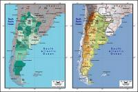 แผนผังของเวกเตอร์ของโลกสวยงามพร้อมวัสดุ - แผนที่ประเทศอาร์เจนตินา
