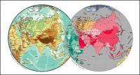 แผนผังของเวกเตอร์ของโลกสวยงามพร้อมวัสดุ - เอเชียทรงกลมแผนที่