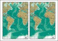 Carte de vecteur de la matière exquis de monde - carte Atlantique
