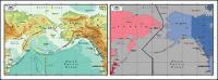 Vektor peta dunia indah bahan - peta Selat Bering