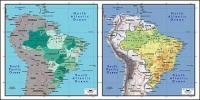 แผนผังของเวกเตอร์ของโลกสวยงามพร้อมวัสดุ - บราซิลแผนที่