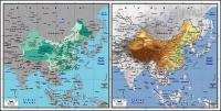 絶妙な材料の世界 - 中国の地図のベクトル地図