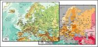 แผนผังของเวกเตอร์ของโลกสวยงามพร้อมวัสดุ - แมปยุโรป