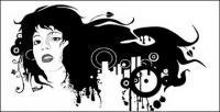 Feminino retrato preto e branco do material de vetor de tendência
