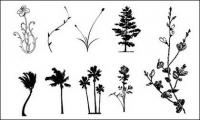 Árboles, flores, material de caso de vectores de ratán