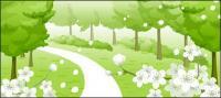 Flores, callejón, vector de árboles