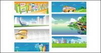 Autobuses de la ciudad y otros paisajes rurales de material de vectores