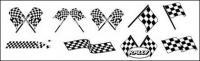 Blanco y negro cuadros racing banderas vector material