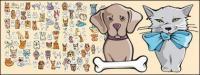 Acomoda un estilo cómico de perros y gatos