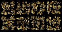 Anzahl der goldenen Blumen und Vögel Schmetterling Muster