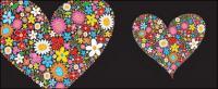 Por coloridas flores en forma de corazón