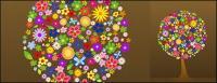 カラフルな花の木で構成