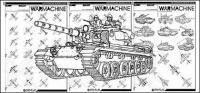 Garis gambar jet tempur dan tank