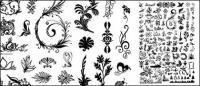 Ratusan pola, serangga, pohon, dan bahan lain vektor