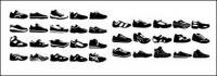 黒と白の様々 なスポーツの靴