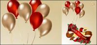 Воздушные шары, ленты, розы векторный материал