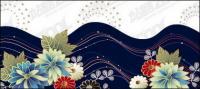 Material de vector de línea de moda y flores
