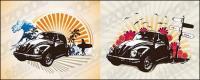 Ilustrações de tema de carros clássicos retrô