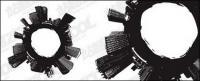 Material de vectores de ciudad de blanco y negro
