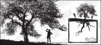 Orang-orang dengan siluet pohon