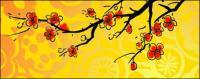 中国スタイル梅絵画材料をベクトルします。