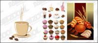 Pastel, pan, bebidas y otros materiales de vectores
