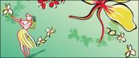 Material de vectores de flores de verano estilo