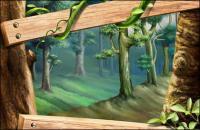 Wood, árboles, hojas, plantas de ratán