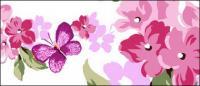 Bunga-bunga ungu bubuk dan kupu-kupu