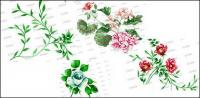 Fashion fleurs et feuilles psd stratifiée de matériau