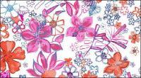 Psd ファッション手描きの花パターン材料層