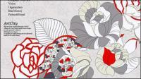 Efectos de línea de dibujo pintado a mano rosas psd capas de material