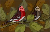Psd birdies स्तरित सामग्री की शाखाओं पर