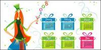 календарный год 2008 векторный материал-1
