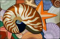 Conques, coquilles, étoiles de mer psd stratifiée de matériel